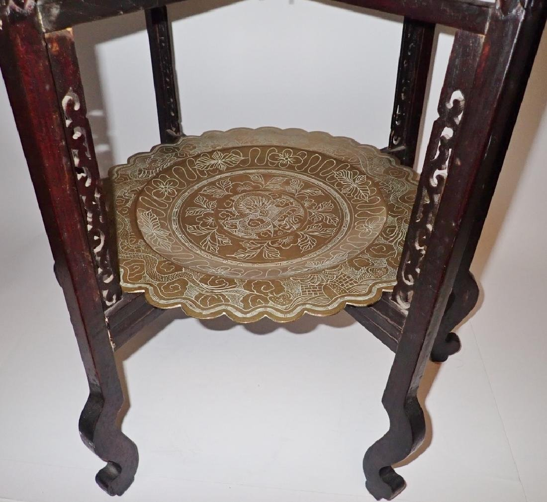 Antique Chinese Brass Two-Tier Table - 3