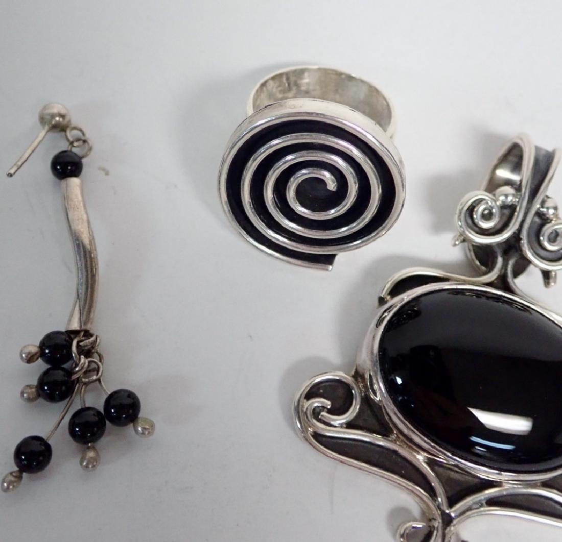 Black Onyx & Silver Jewelry Grouping - 3