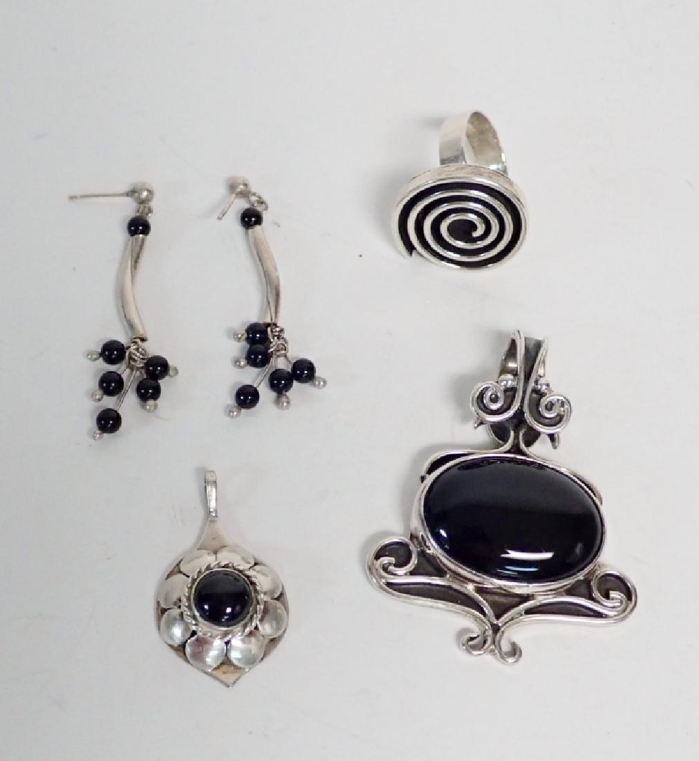Black Onyx & Silver Jewelry Grouping - 7