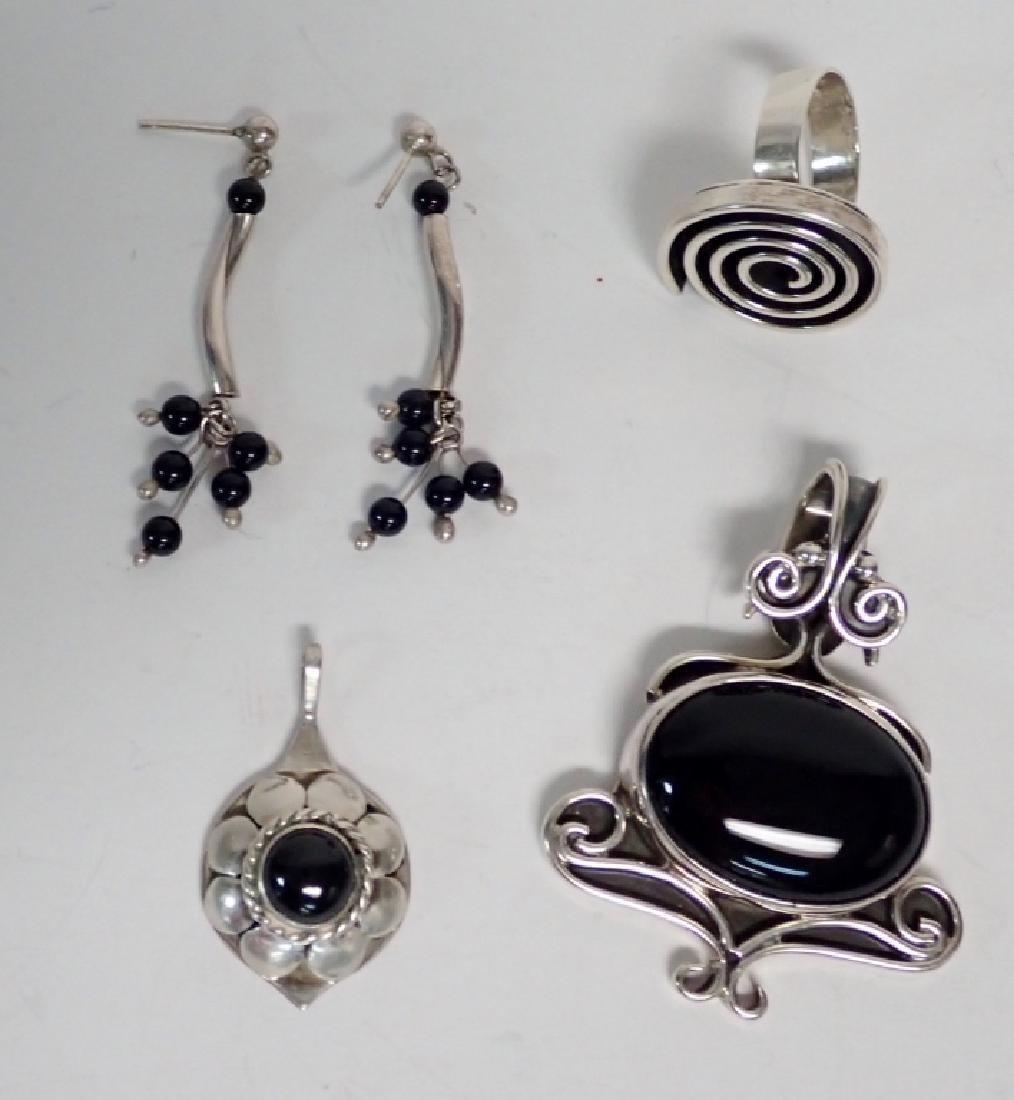 Black Onyx & Silver Jewelry Grouping - 8