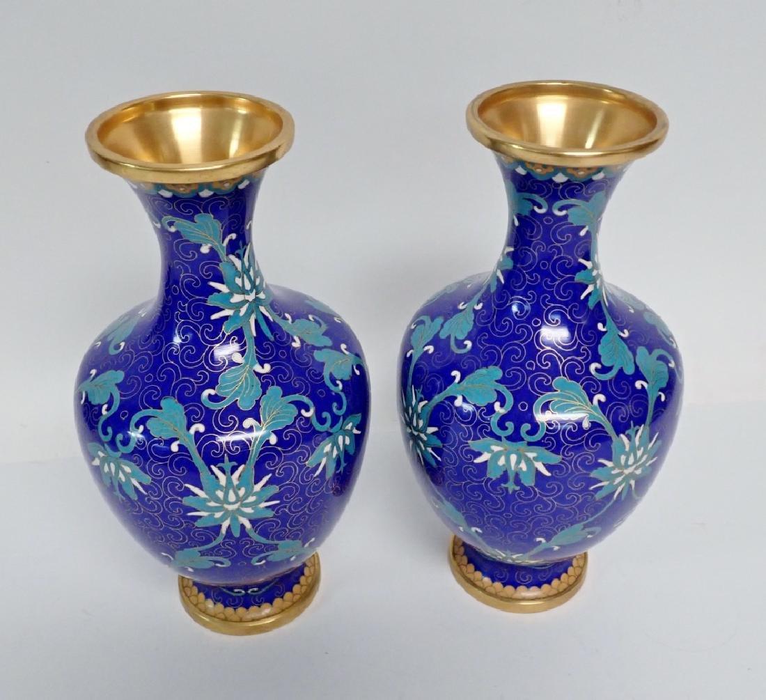 Vintage Asian Cloisonne Vase Pair