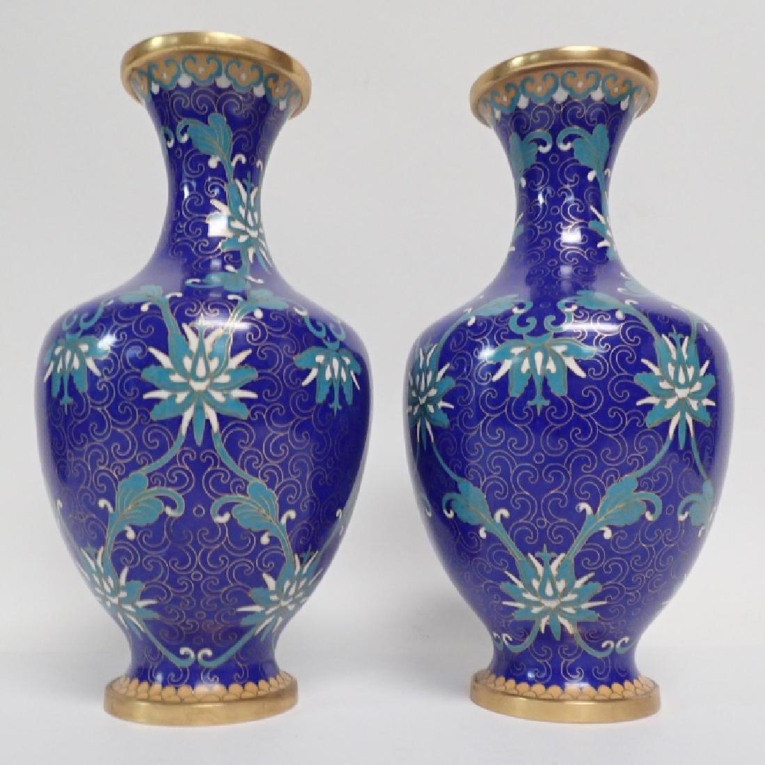 Vintage Asian Cloisonne Vase Pair - 2