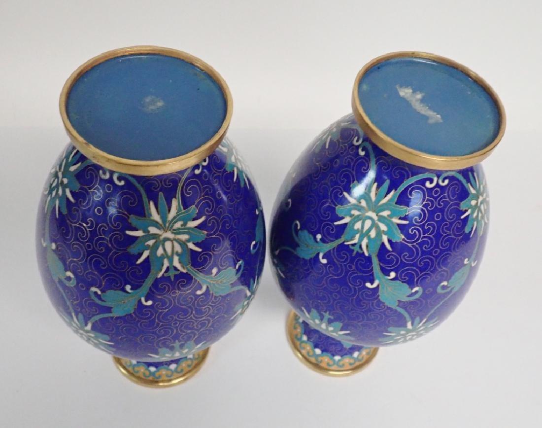 Vintage Asian Cloisonne Vase Pair - 5