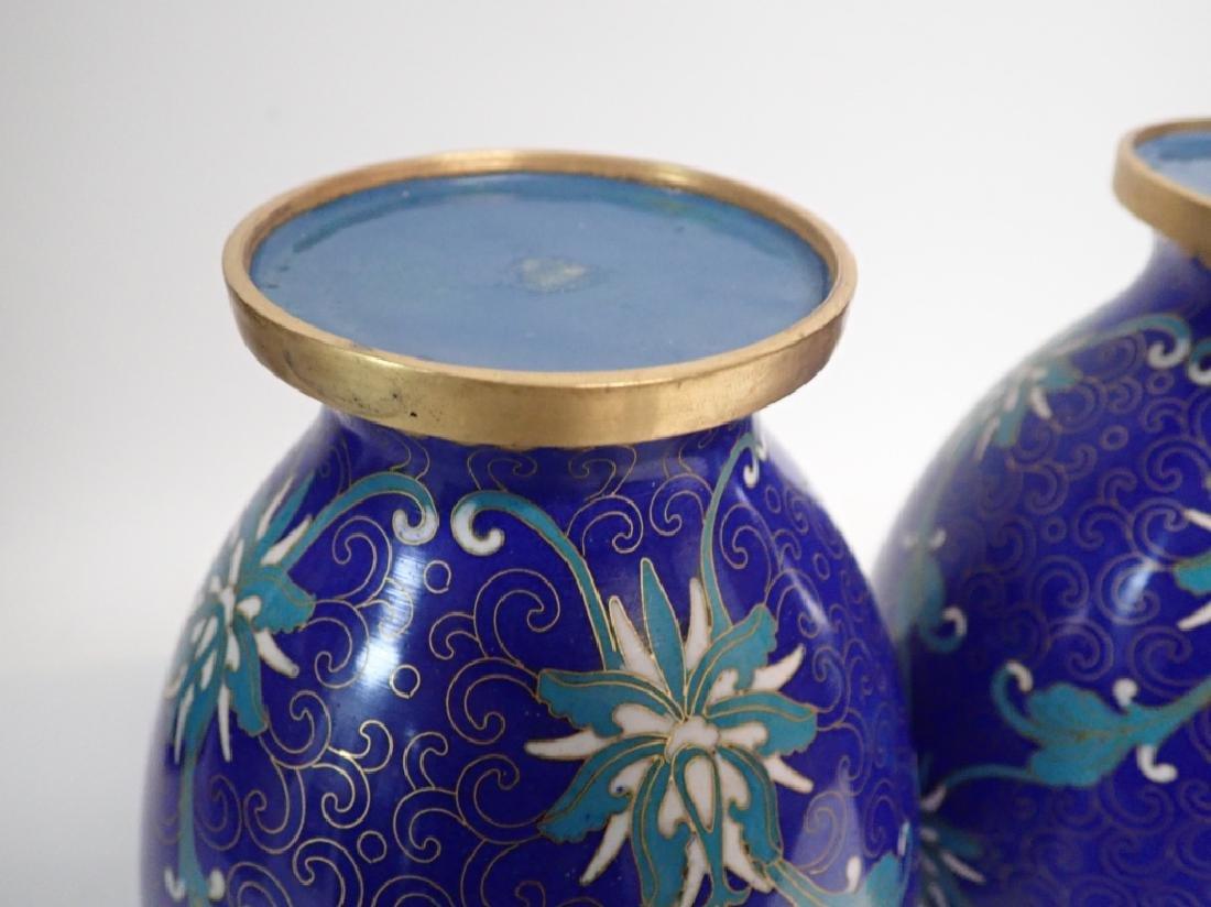 Vintage Asian Cloisonne Vase Pair - 7