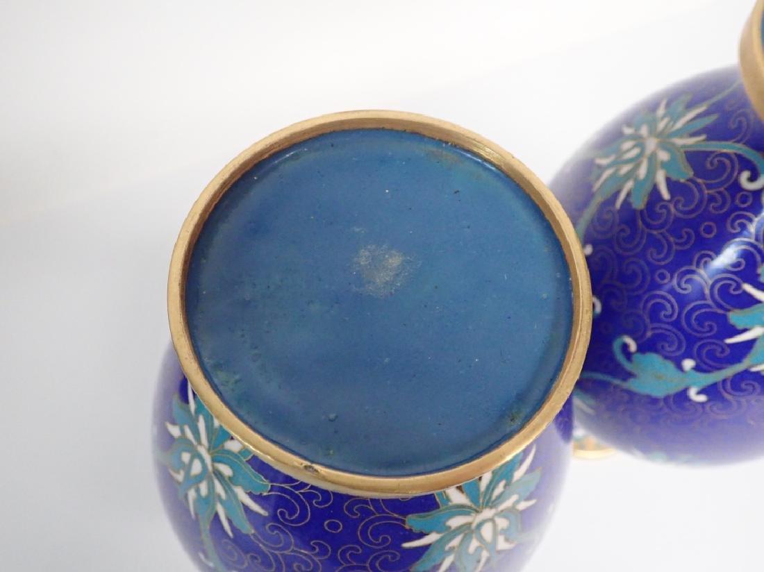 Vintage Asian Cloisonne Vase Pair - 8