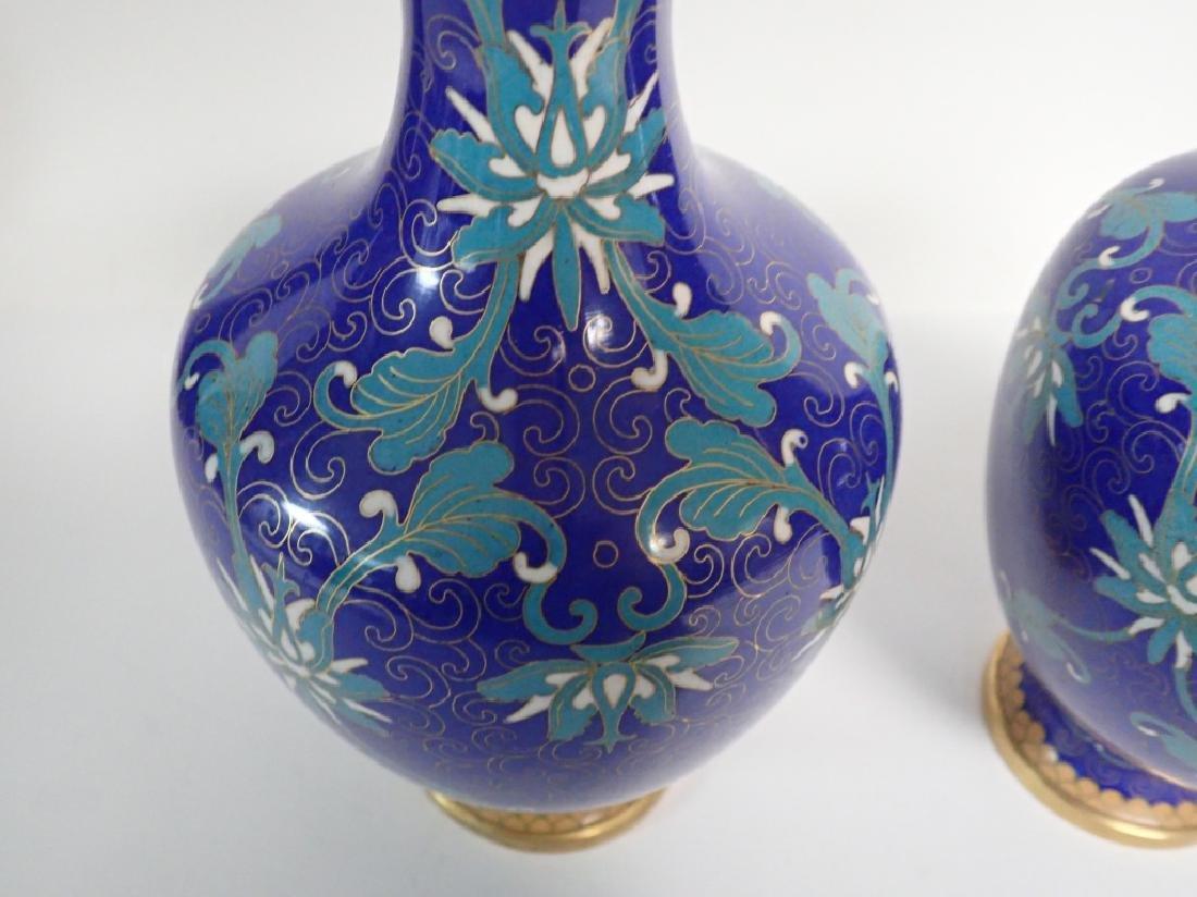 Vintage Asian Cloisonne Vase Pair - 9