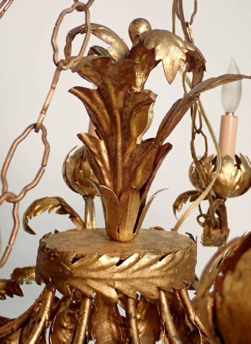 Oval Gilt Tole Chandelier with Leaf Design - 2