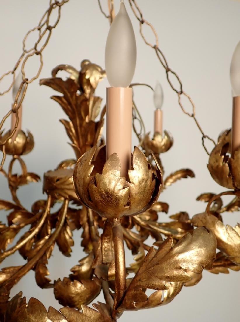 Oval Gilt Tole Chandelier with Leaf Design - 3