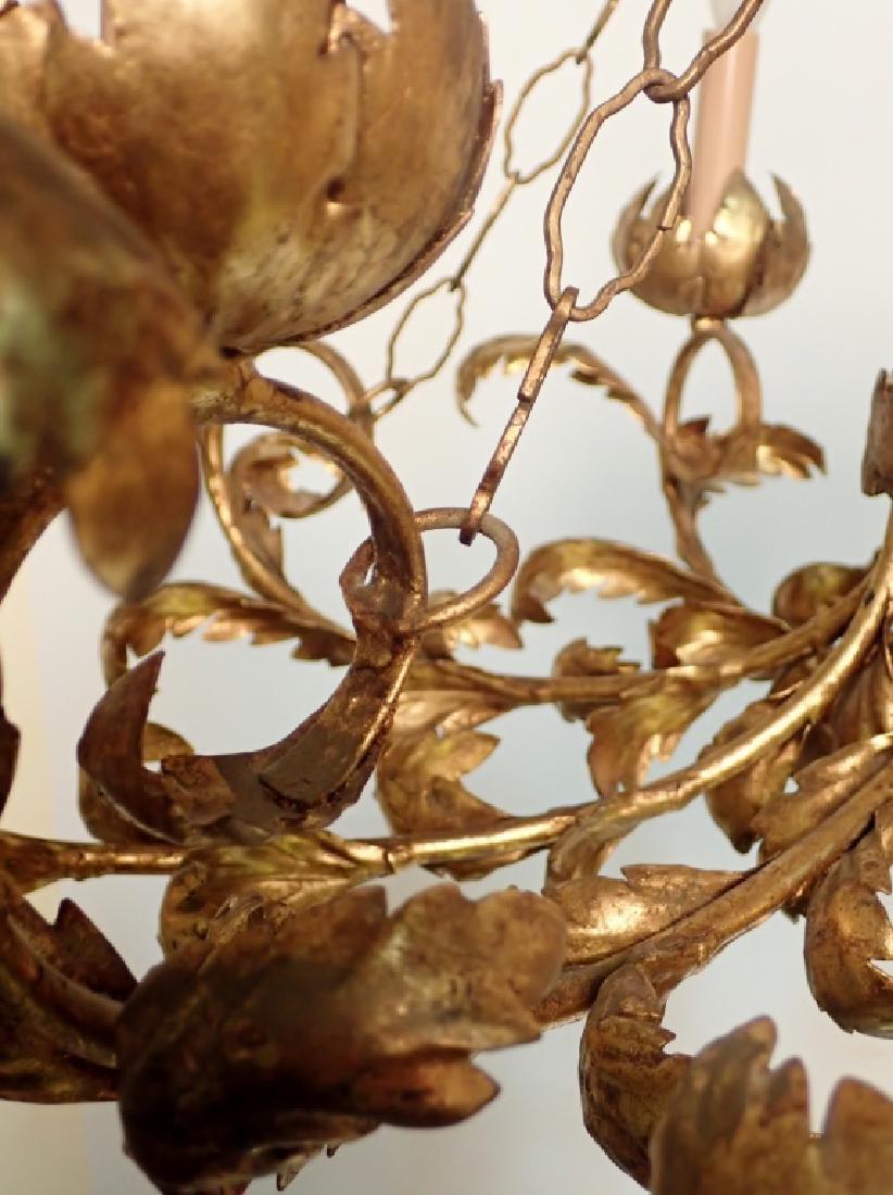 Oval Gilt Tole Chandelier with Leaf Design - 4