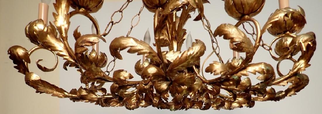 Oval Gilt Tole Chandelier with Leaf Design - 6