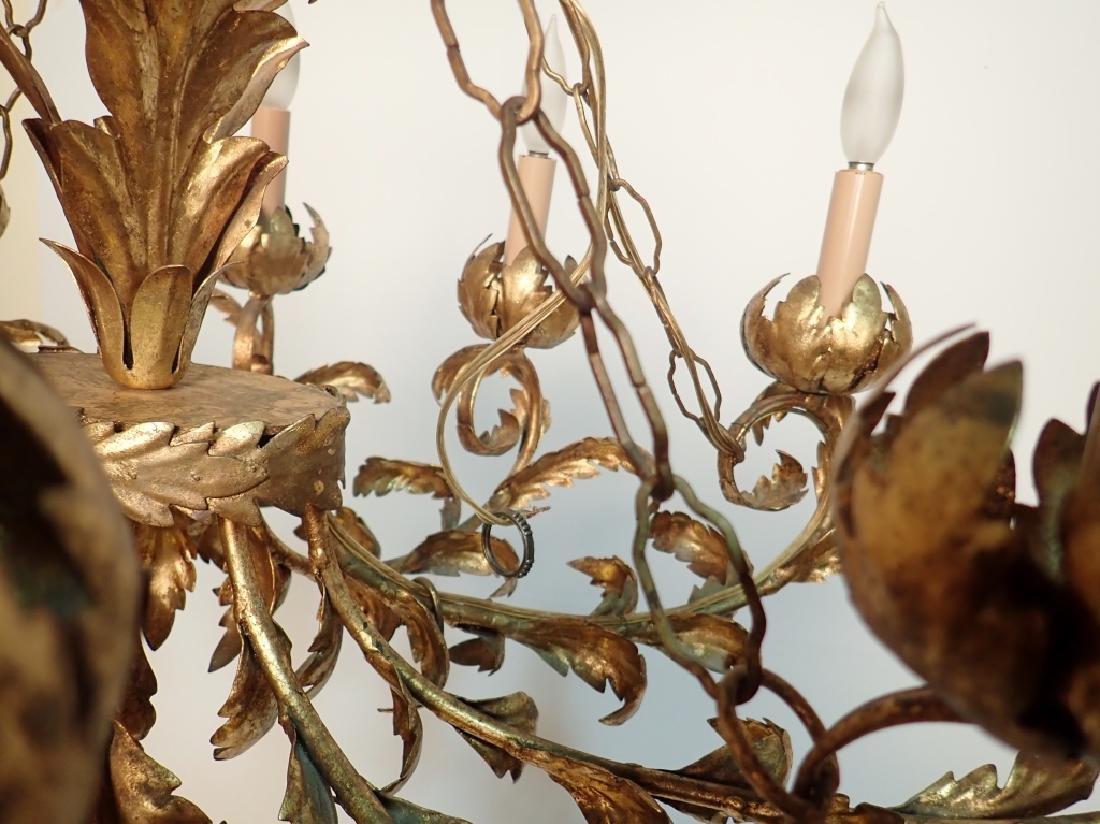 Oval Gilt Tole Chandelier with Leaf Design - 8