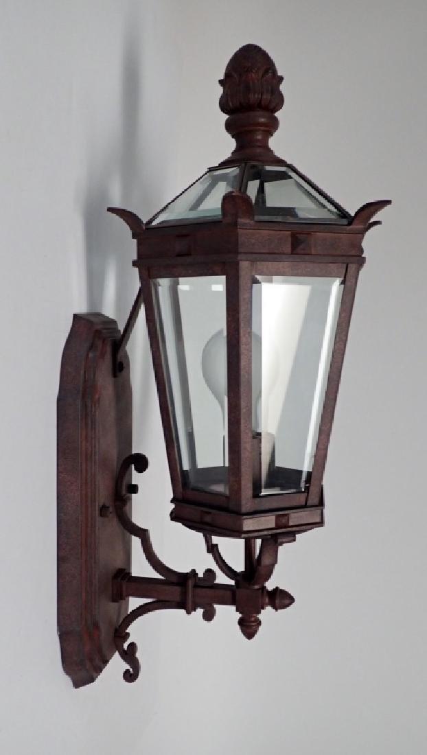Patinated Metal Wall Mount Lantern w Beveled Glass