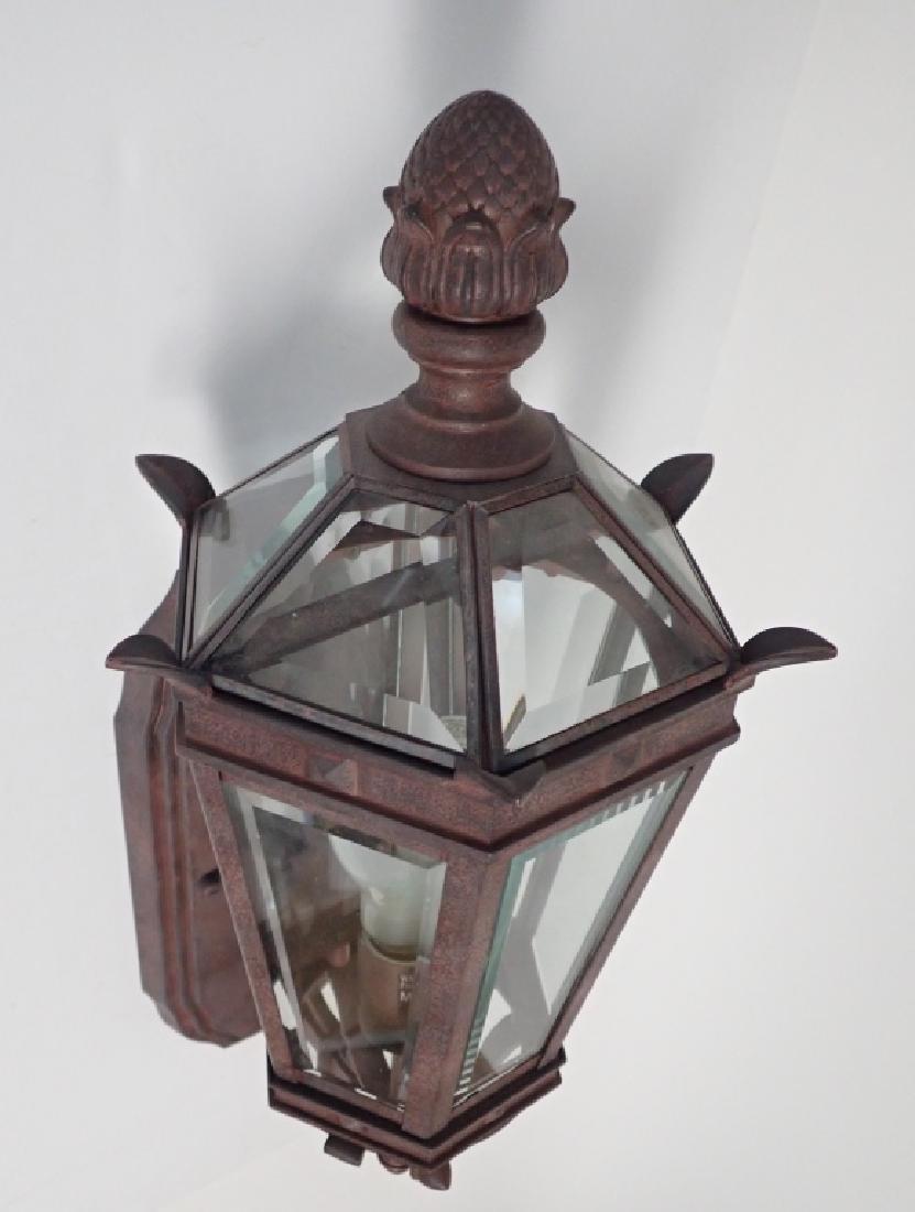 Patinated Metal Wall Mount Lantern w Beveled Glass - 4