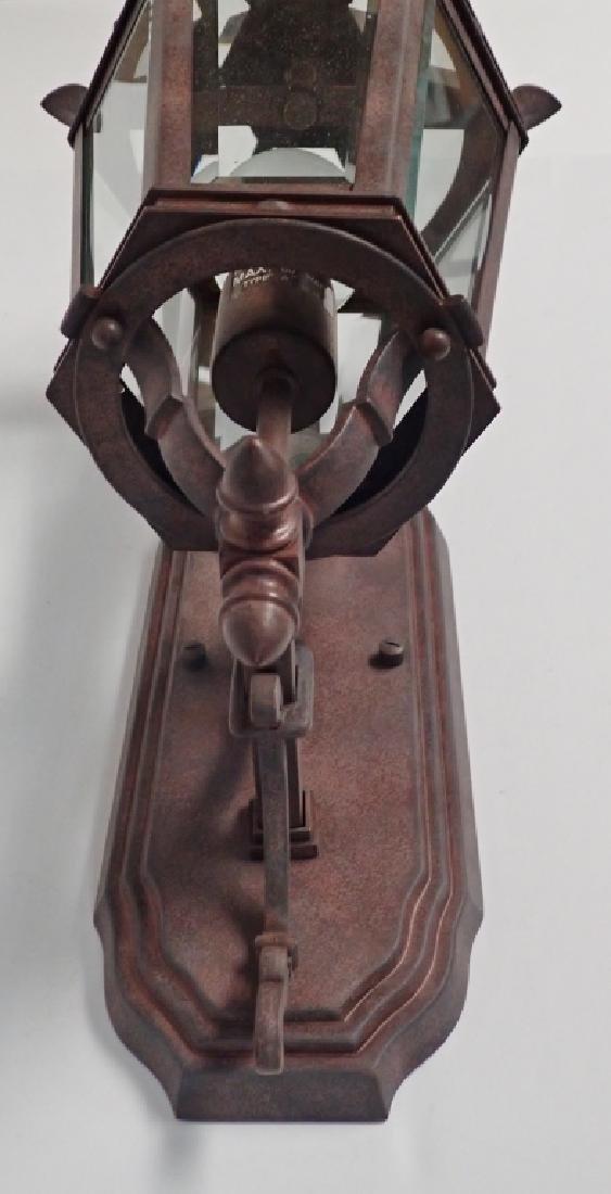 Patinated Metal Wall Mount Lantern w Beveled Glass - 5