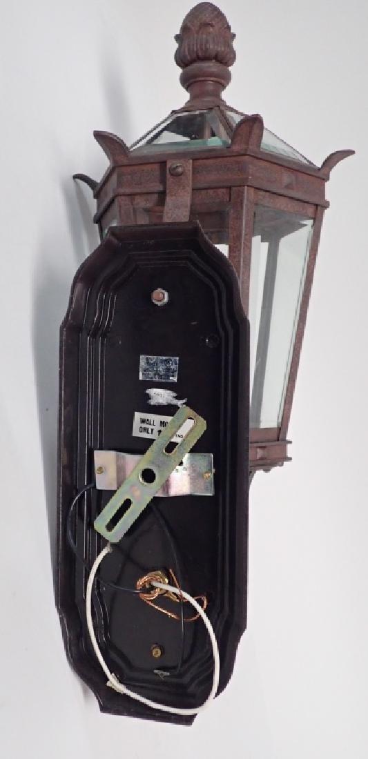 Patinated Metal Wall Mount Lantern w Beveled Glass - 6