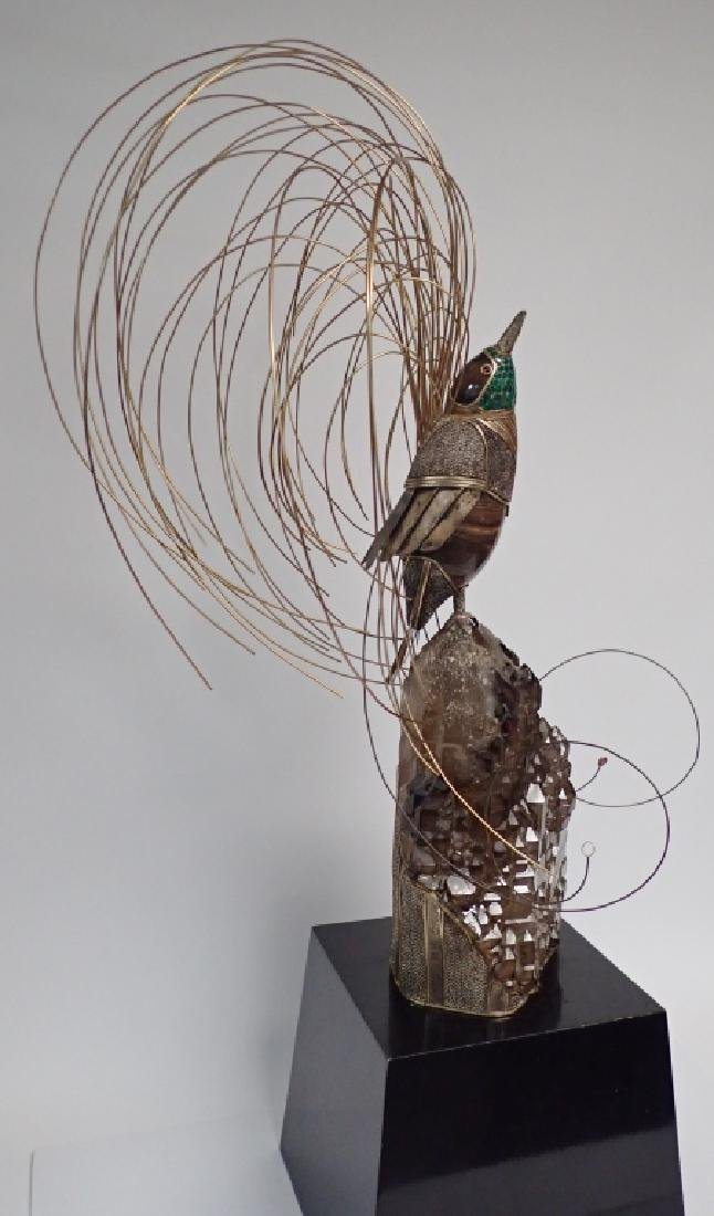 Modern Mixed Metal and Mineral Bird Sculpture