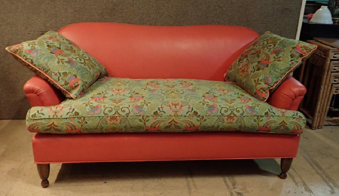 Modern Designer Sofa, Leather With Fabric Cushions - 2
