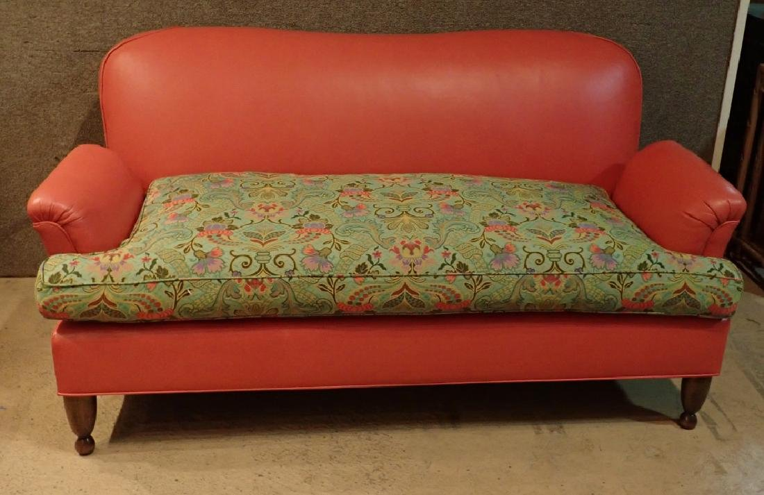 Modern Designer Sofa, Leather With Fabric Cushions - 3
