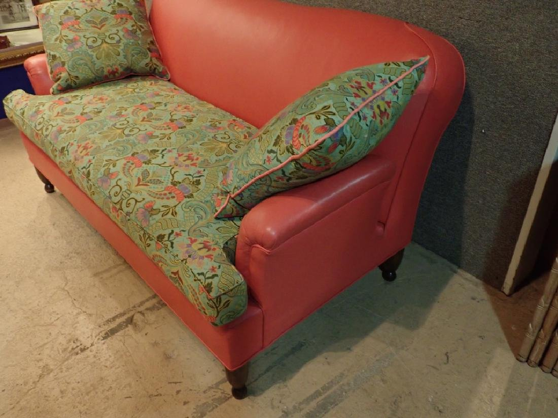 Modern Designer Sofa, Leather With Fabric Cushions - 5