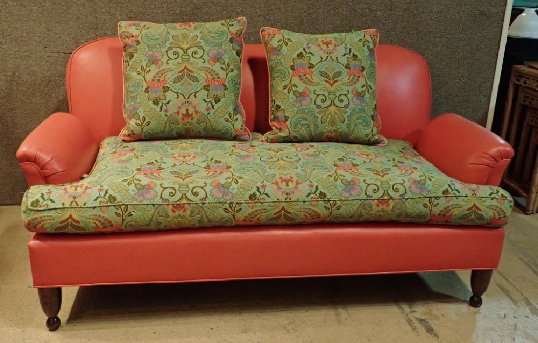Leather Modern Designer Sofa With Fabric Cushions