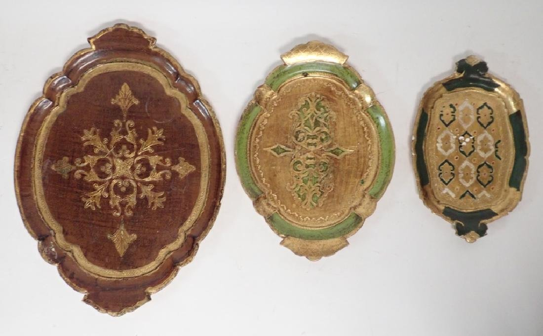 3 pc Painted & Gilt Florentine Tray Assortment
