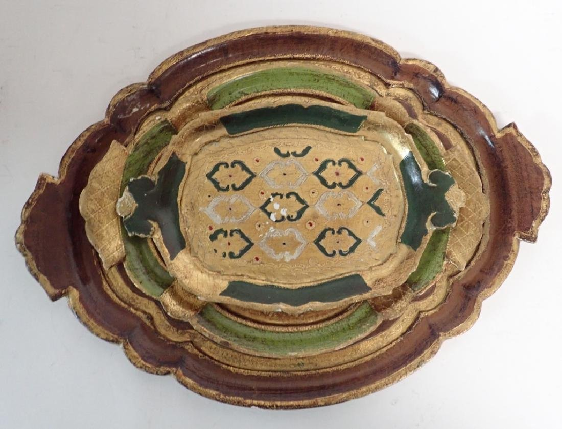 3 pc Painted & Gilt Florentine Tray Assortment - 2