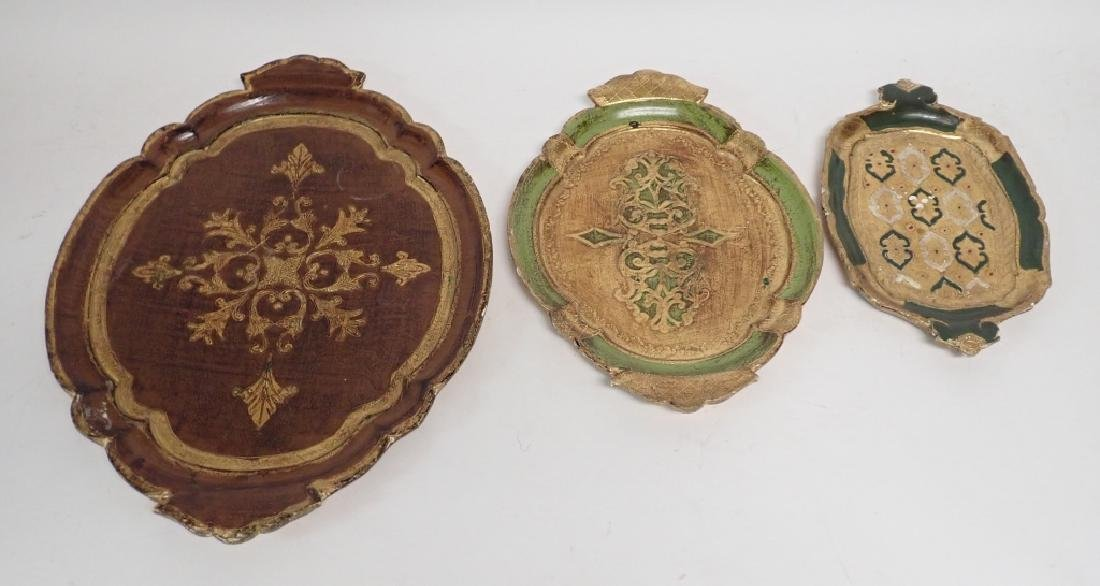 3 pc Painted & Gilt Florentine Tray Assortment - 4