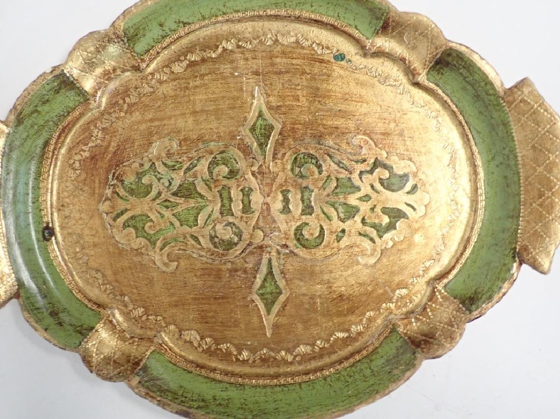 3 pc Painted & Gilt Florentine Tray Assortment - 7