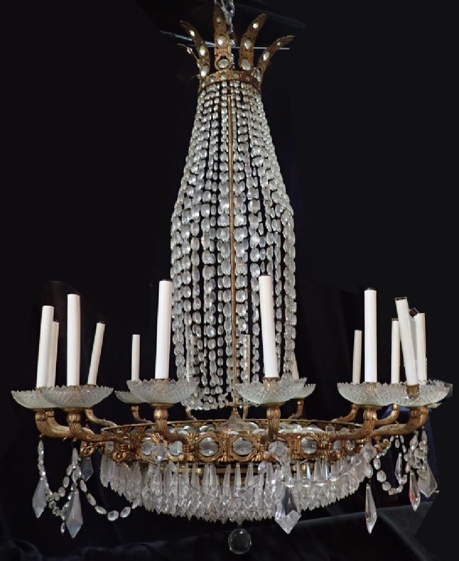 Bronze & Crystal Continental Chandelier
