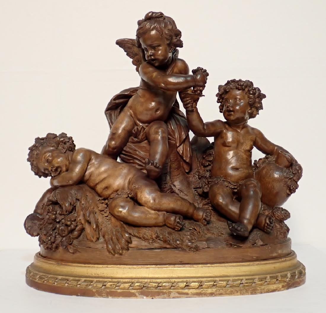 Terracotta Putti Sculpture on Gilt Wooden Base