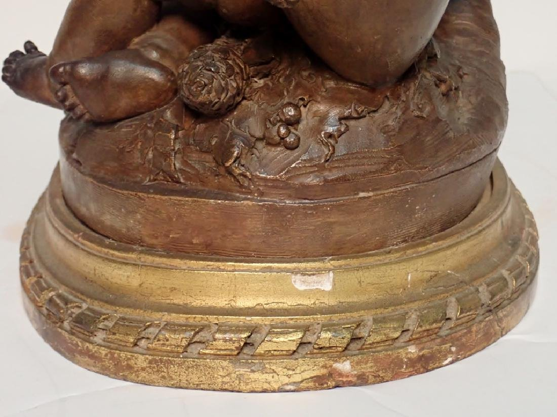 Terracotta Putti Sculpture on Gilt Wooden Base - 5
