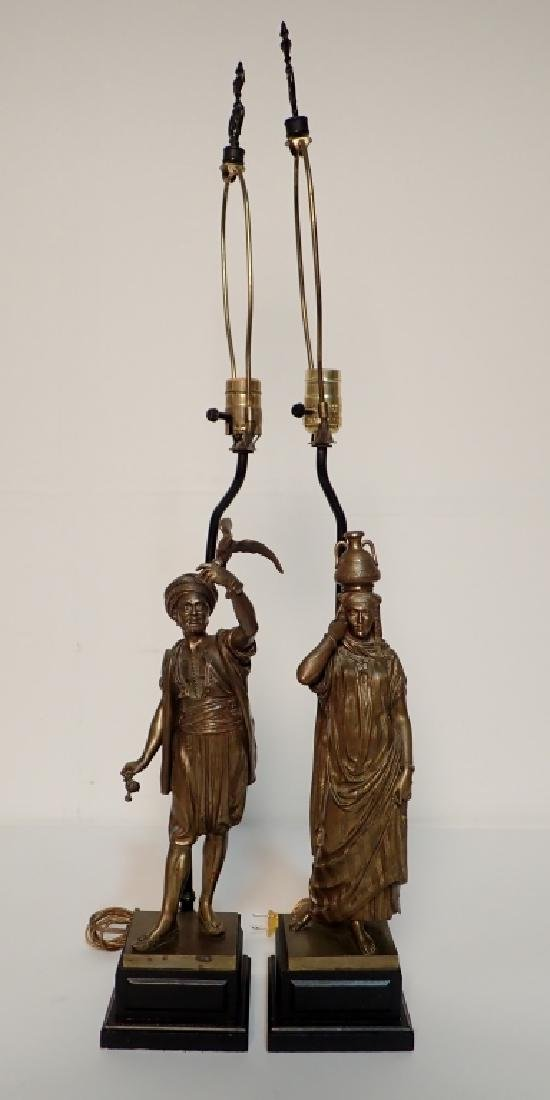 Léon Pilet (1840-1916) Figural Bronze Lamps