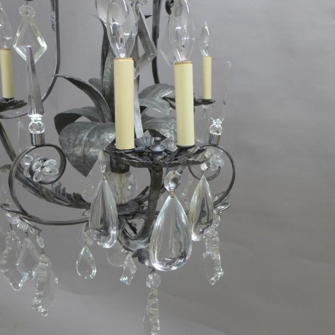 Large Crystal and Tole Chandelier - 10