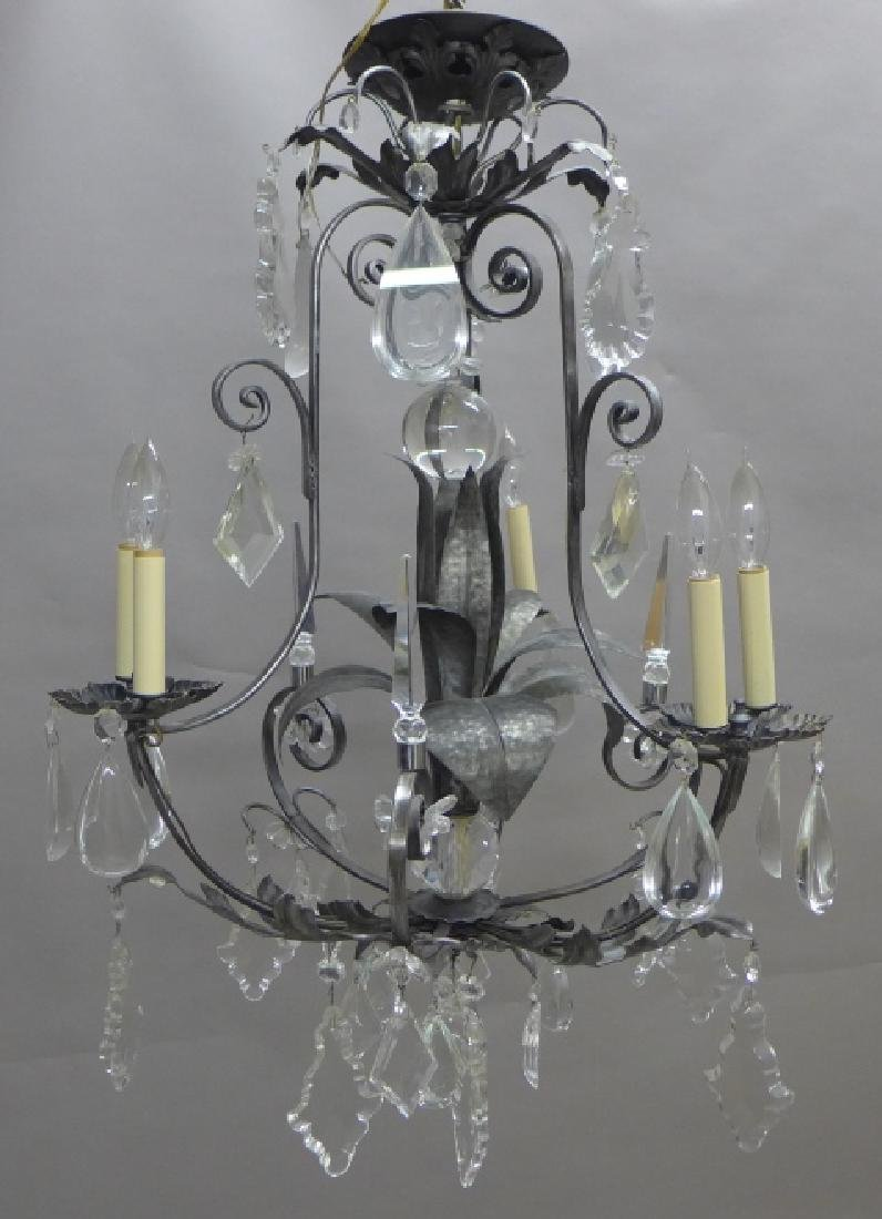 Large Crystal and Tole Chandelier