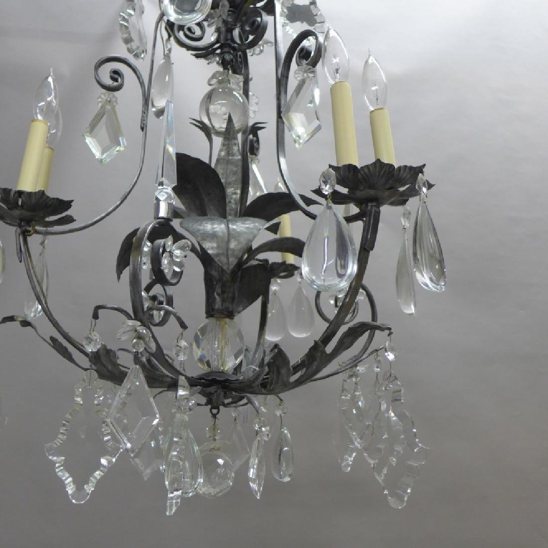 Large Crystal and Tole Chandelier - 2