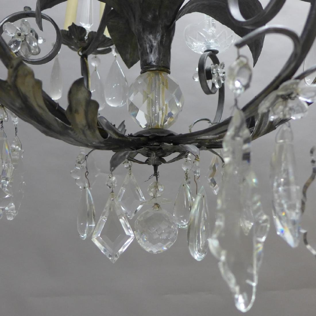 Large Crystal and Tole Chandelier - 3
