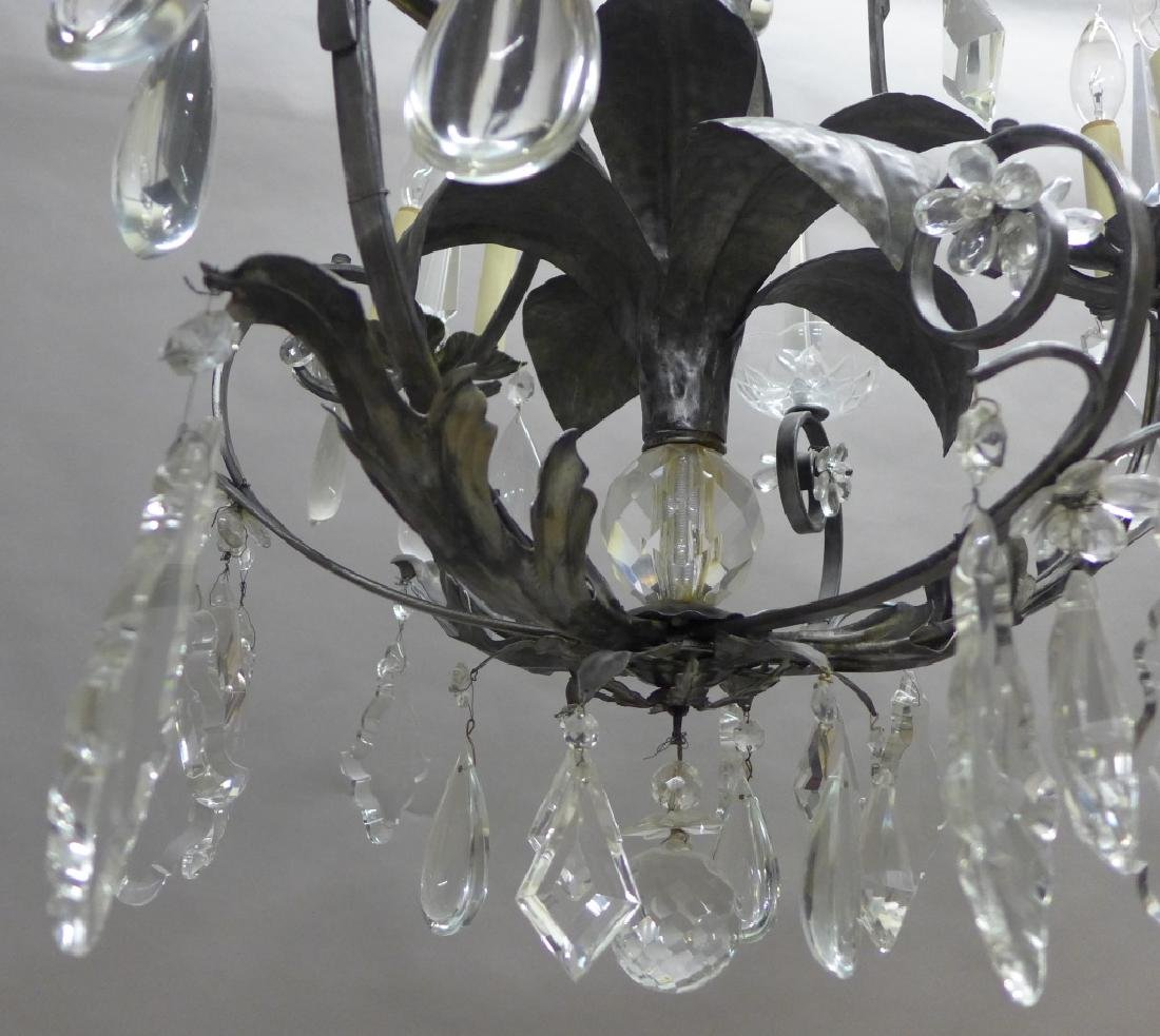 Large Crystal and Tole Chandelier - 4