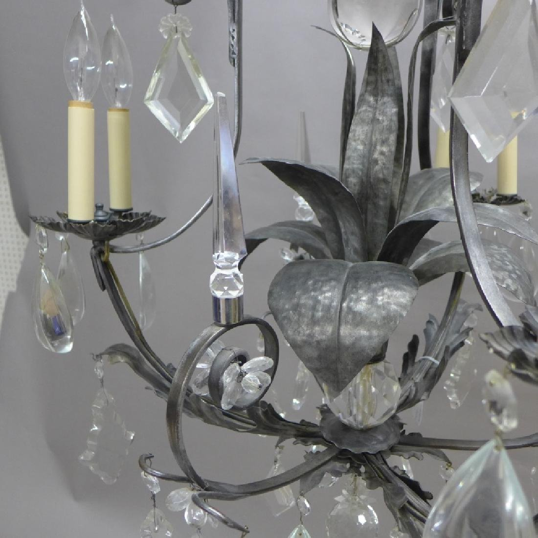 Large Crystal and Tole Chandelier - 8
