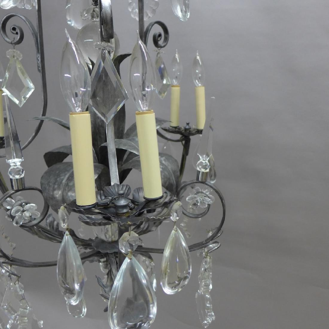 Large Crystal and Tole Chandelier - 9