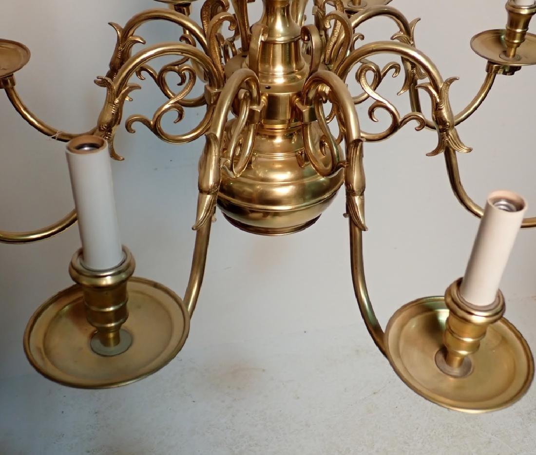 8 Arm Brass Chandelier - 2