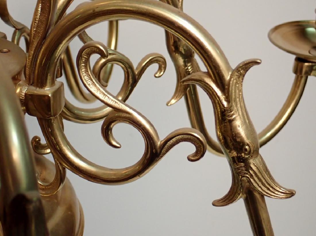 8 Arm Brass Chandelier - 6