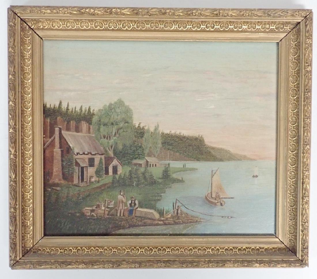 Primitive Marinescape Oil on Board, 19th Century