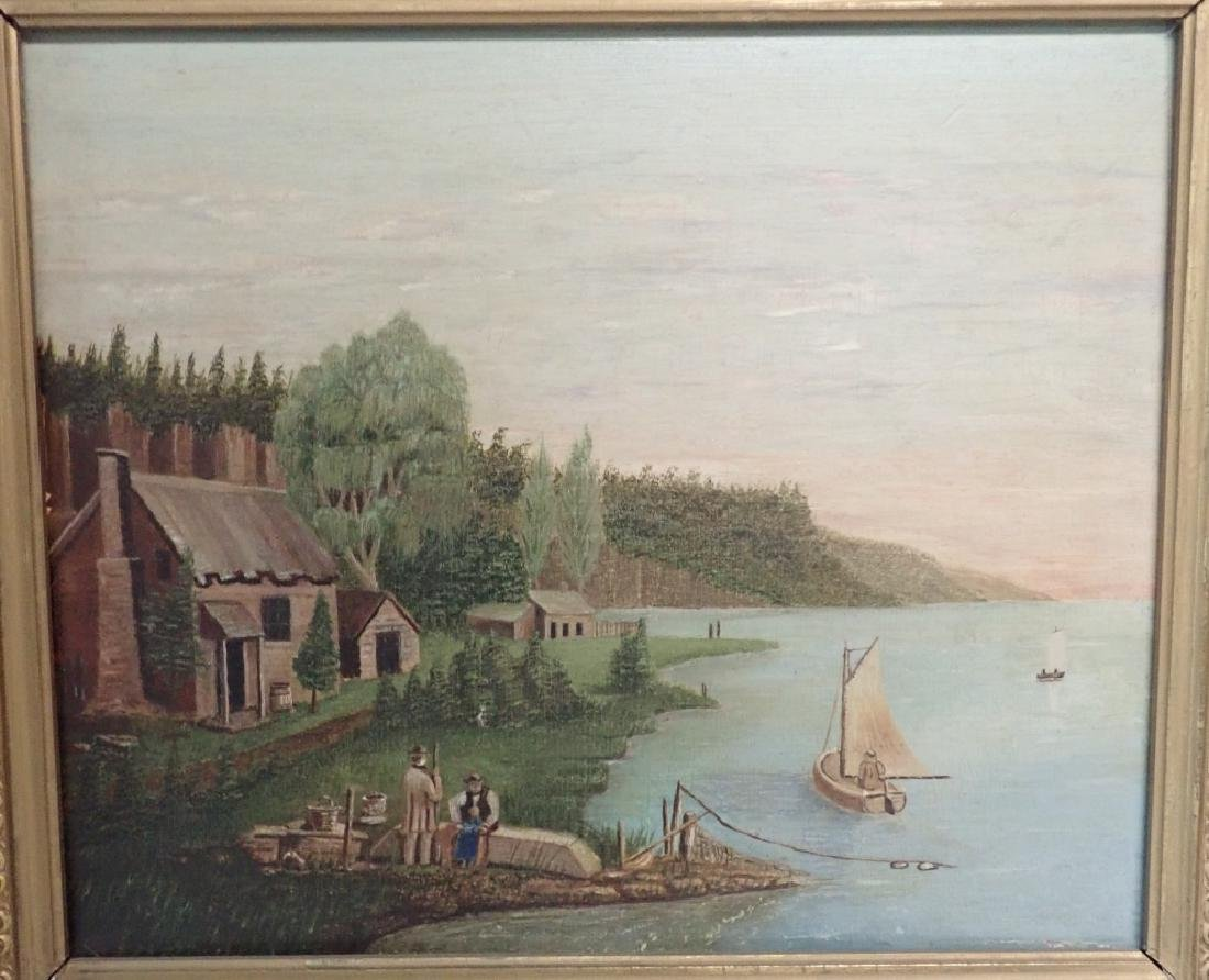 Primitive Marinescape Oil on Board, 19th Century - 2