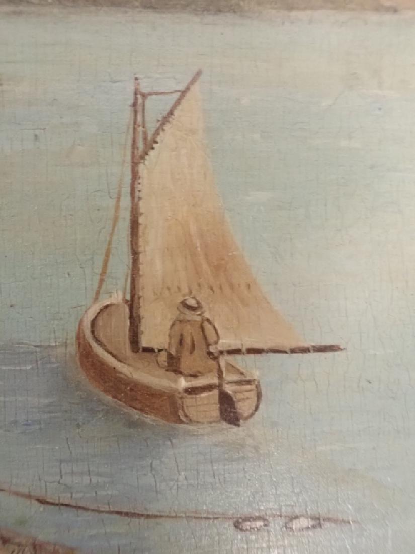 Primitive Marinescape Oil on Board, 19th Century - 5