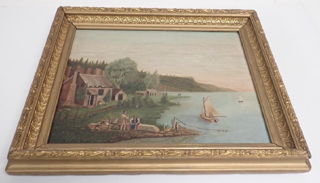 Primitive Marinescape Oil on Board, 19th Century - 8