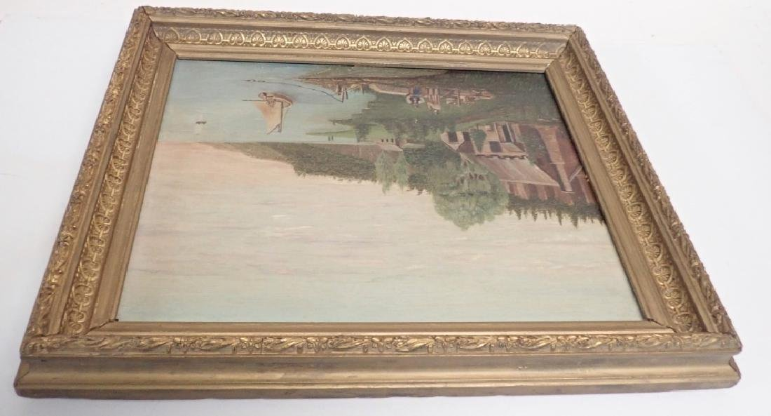 Primitive Marinescape Oil on Board, 19th Century - 9