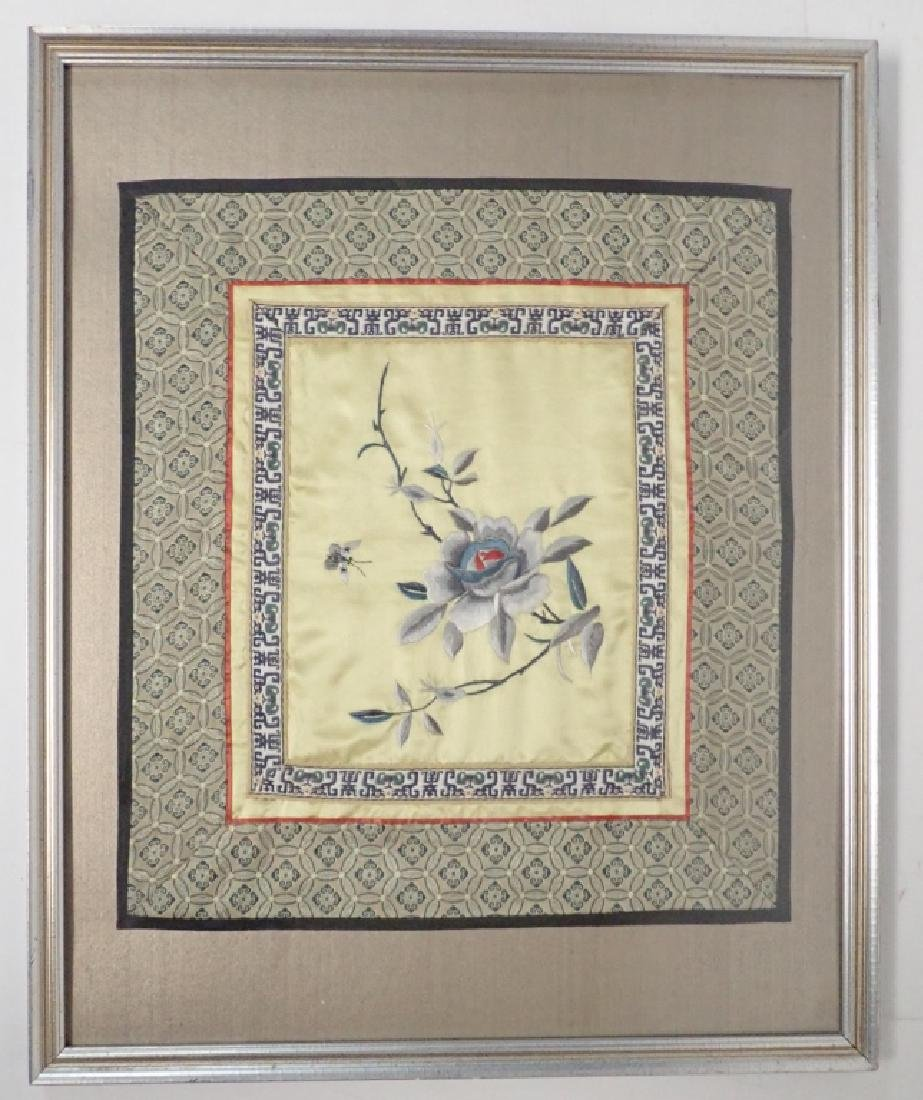 Framed Floral Asian Silk Embroidery Panel