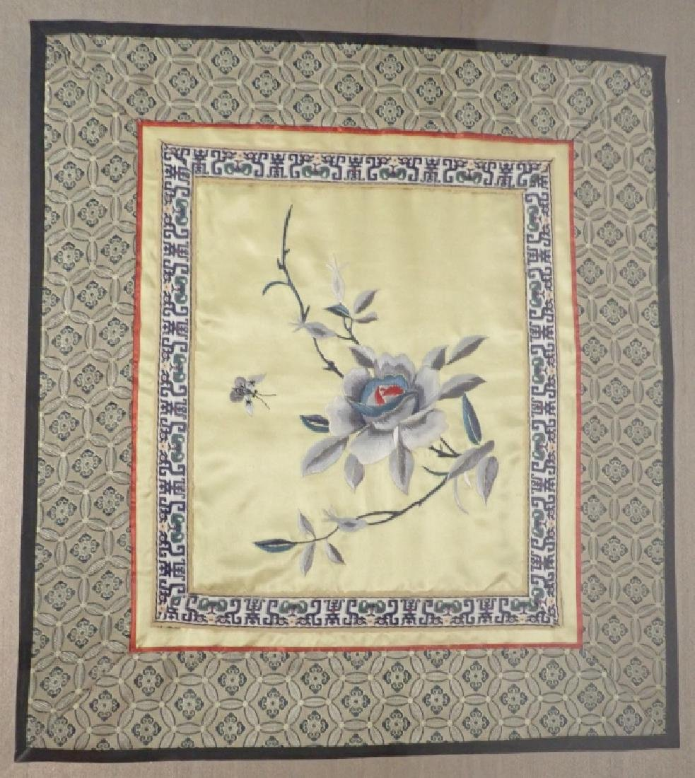 Framed Floral Asian Silk Embroidery Panel - 2
