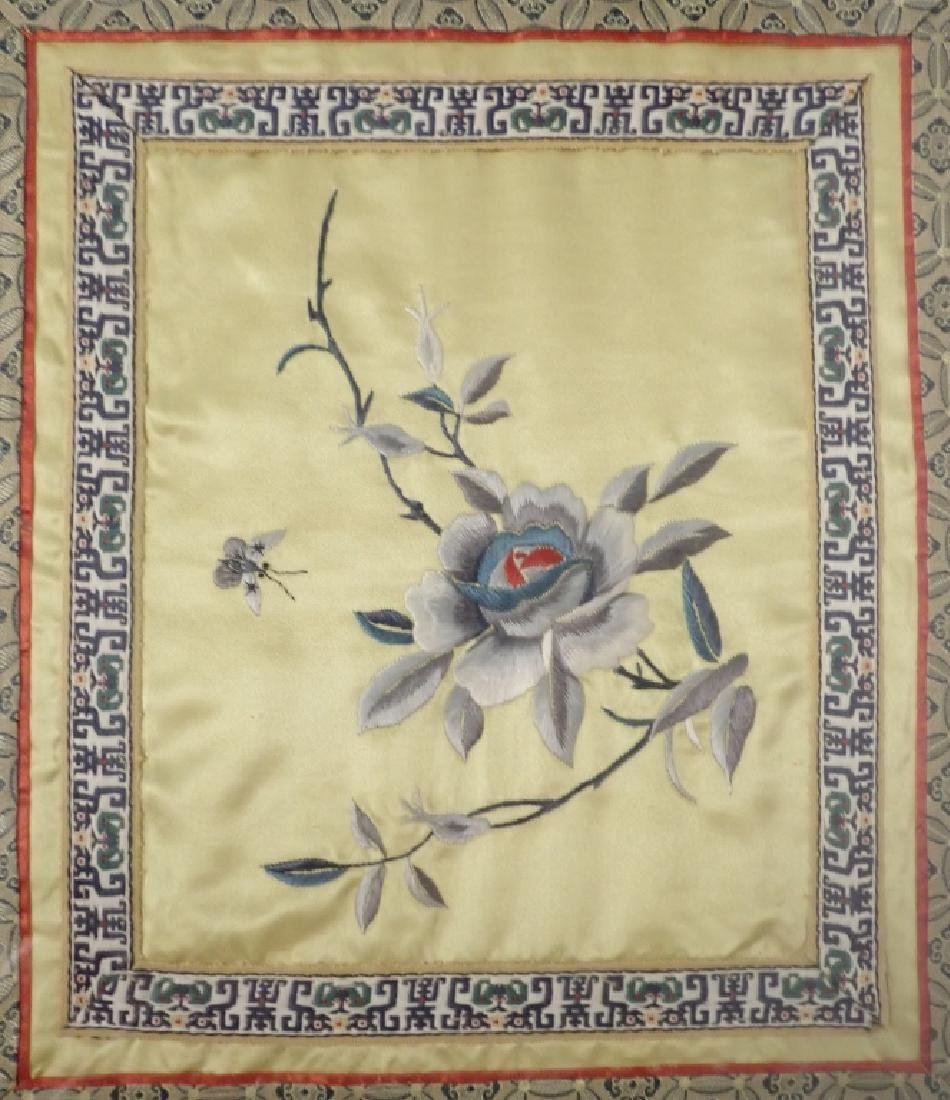 Framed Floral Asian Silk Embroidery Panel - 3