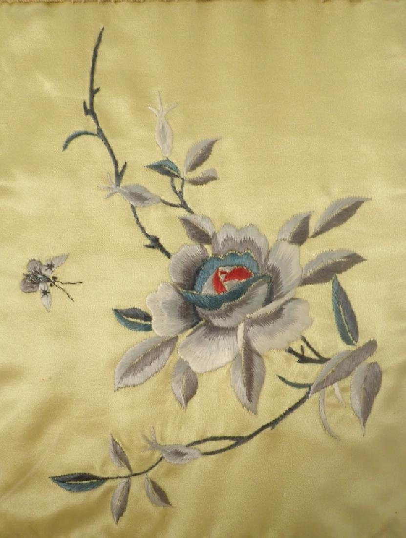 Framed Floral Asian Silk Embroidery Panel - 4